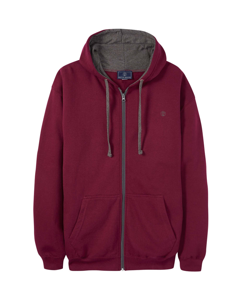Men's Burgundy with Charcoal Logo Zip Hoodie