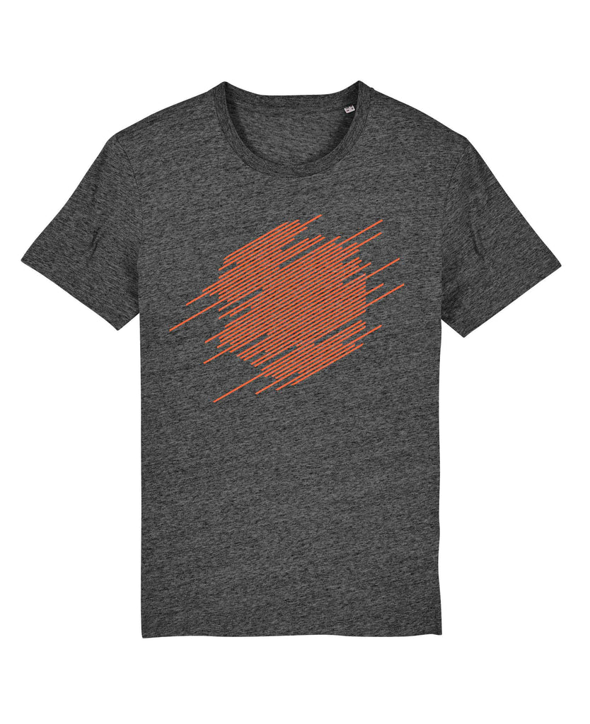 Abstract Hexagon T-Shirt - Orange on Steel Grey