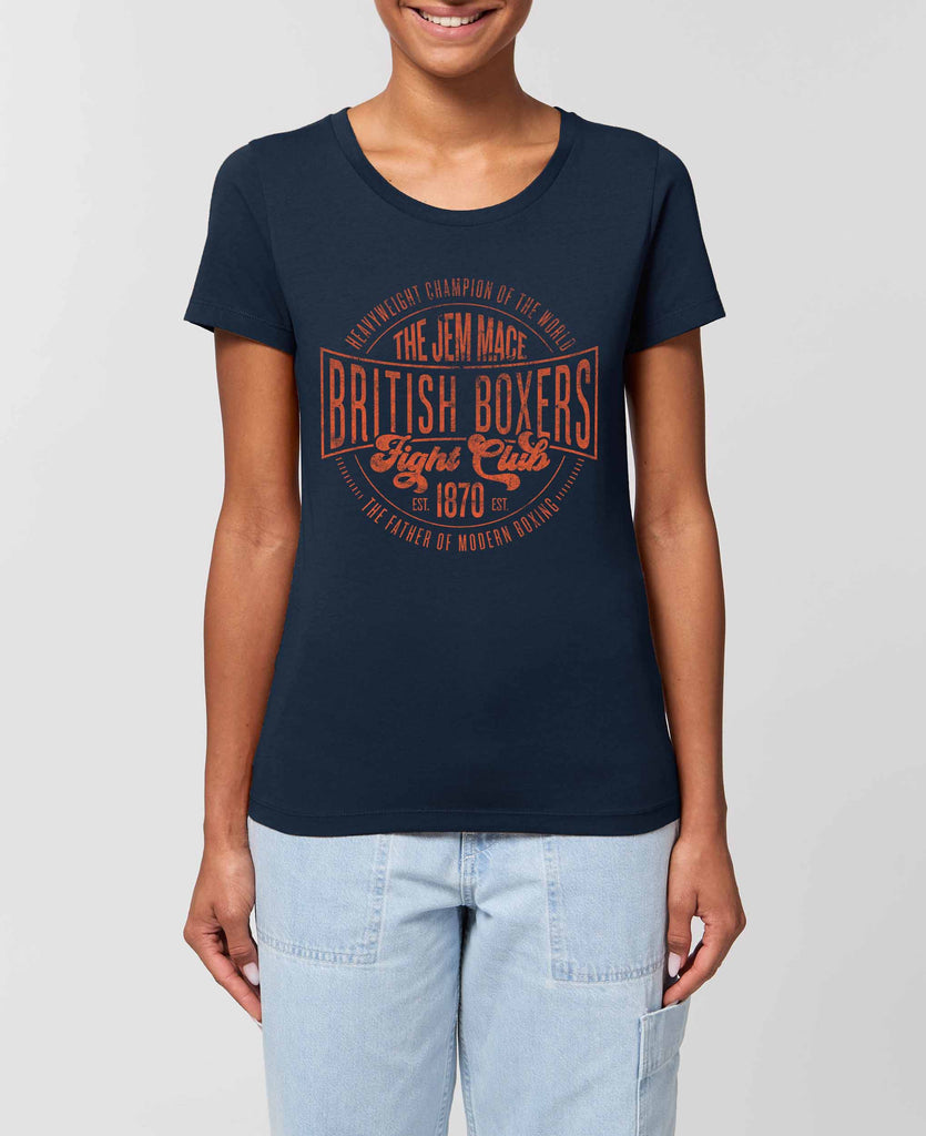 Women's Fight Club Vintage Logo Fitted T-Shirt - Orange on French Navy