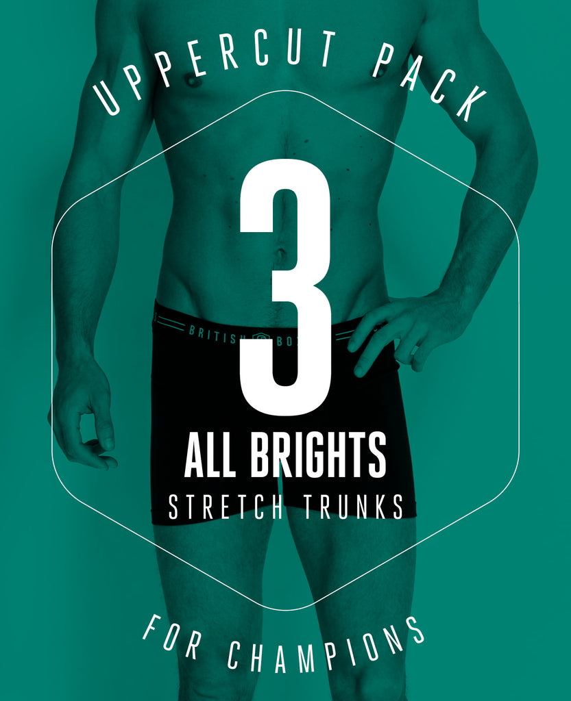 Uppercut Pack! 3 Pairs of ALL BRIGHTS Stretch Trunks for £29