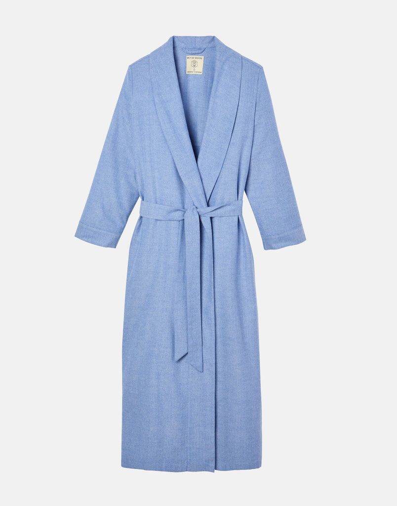 Women's Staffordshire Blue Herringbone Brushed Cotton Dressing Gown