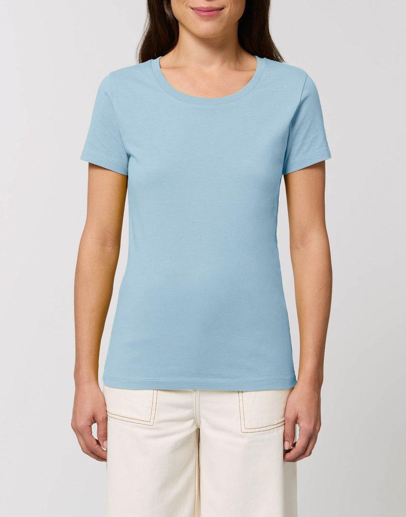 Women's Plain Fitted T-Shirt - Sky Blue