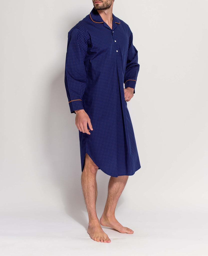Men's Navy with Orange Print Nightshirt
