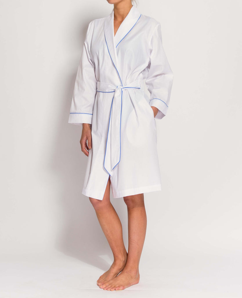 Women's White Satin Stripe Mid-Length Robe