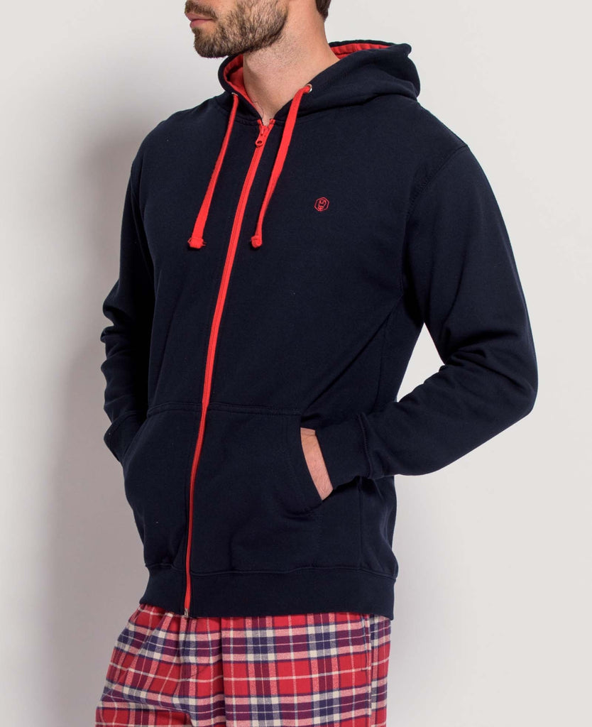 Men's French Navy/Fire Red Zip Hoodie