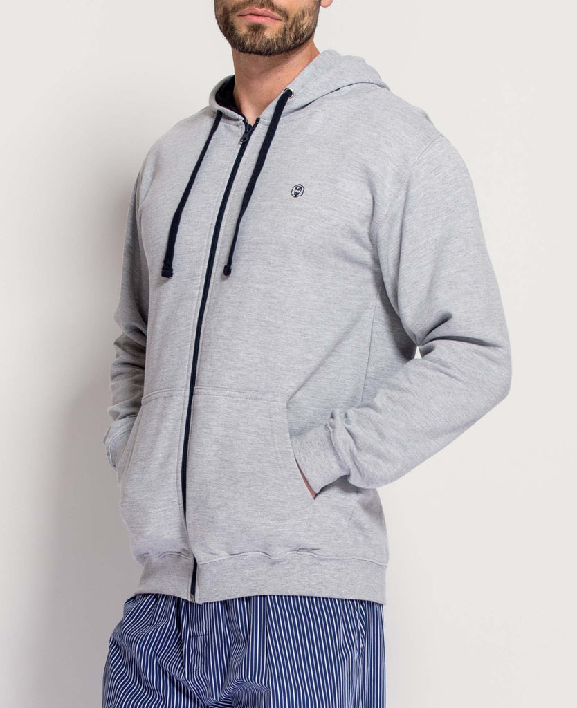 Men's Heather Grey/French Navy Zip Hoodie