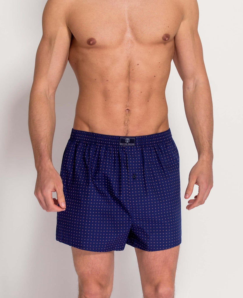 British Boxers Navy with Orange Print