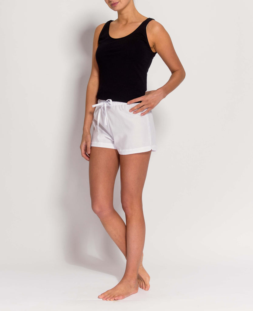 Women's White Satin Stripe Pyjama Shorts