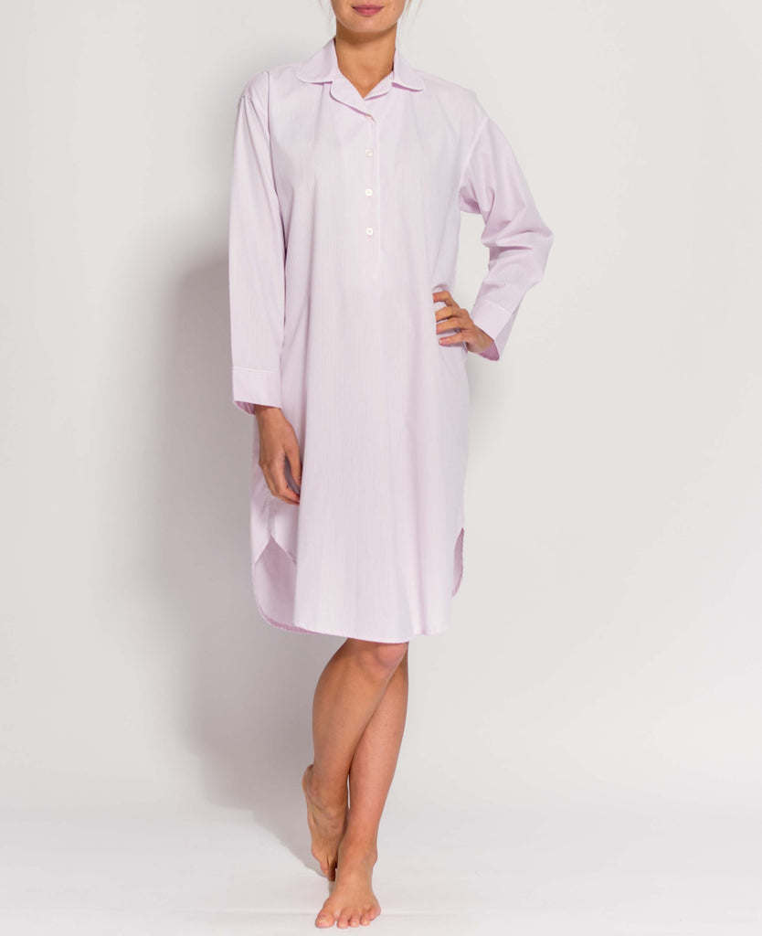 Women's Shell Pink Satin Stripe Nightshirt