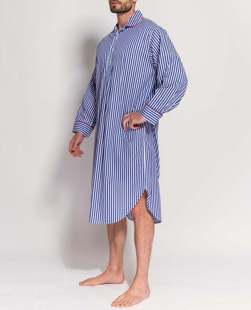 Men's Hartington Royal Satin Stripe Nightshirt