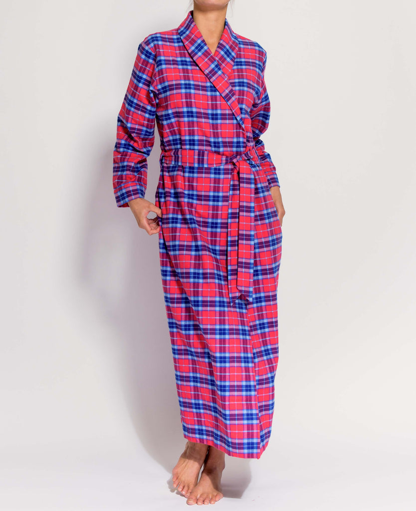 Women's Dunwood Red Tartan Two-Fold Flannel Robe