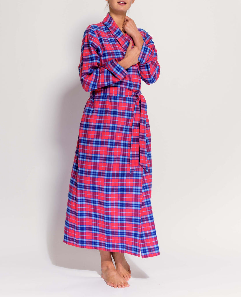 Women's Dunwood Red Tartan Brushed Cotton Dressing Gown