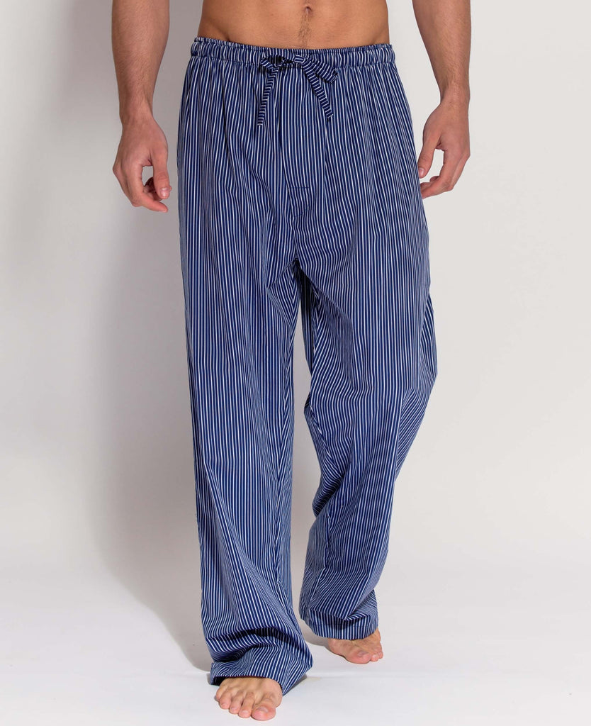 Men's Rudyard Navy Silver Satin Stripe Pyjama Trousers