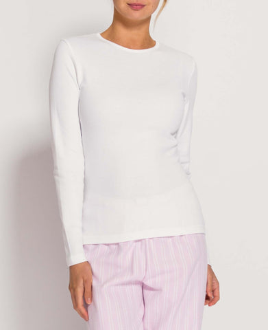 Women's White Cotton Jersey Long Sleeve Top