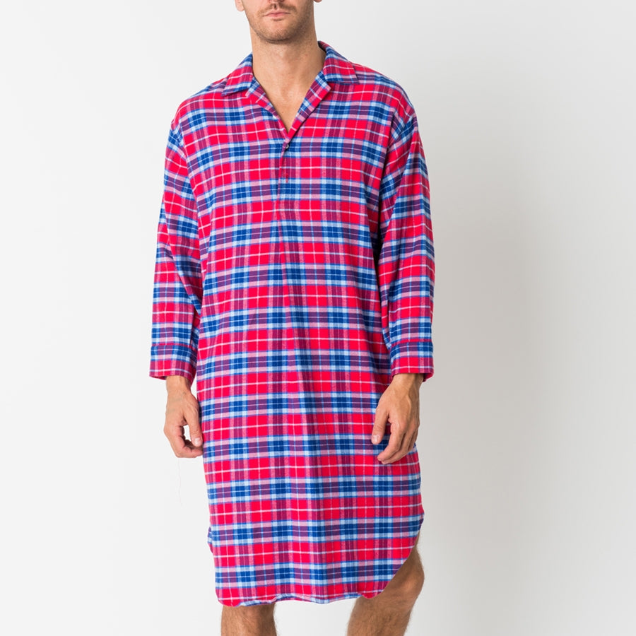 Men's Dunwood Red Tartan Two-Fold Flannel Nightshirt
