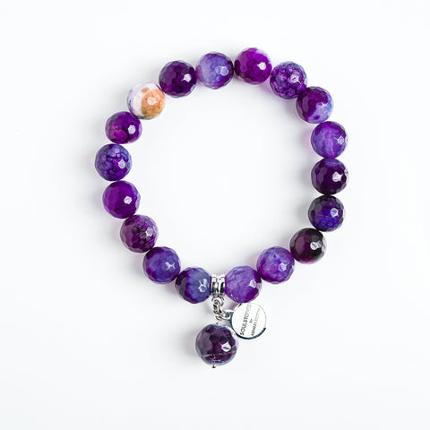 VIOLETS AHĀTS SUDRABS 10 MM  | PURPLE AGATE