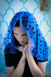 mantilla veil, blue mantilla, church veil, catholic chapel veil