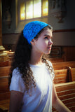 Blue Teal Lace Headband Chapel Veil with Black Ribbon Ties, Kerchief Headcovering by BenedictaBoutique - benedictaveils