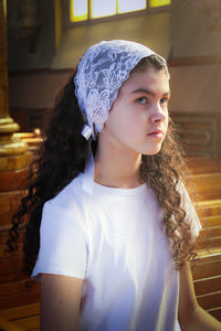 White Lace Headband Chapel Veil with Black Ribbon Ties - BenedictaVeils