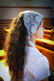 Light Gray Lace Headband Chapel Veil with Black Ribbon Ties - benedictaveils