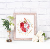 Most Pure Heart of Joseph Printable Image, Catholic Devotional Illustration Wall Art by BenedictaBoutique