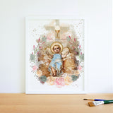 Baby Jesus Catholic Printable, Christmas Nativity Scene Wall Art by BenedictaBoutique