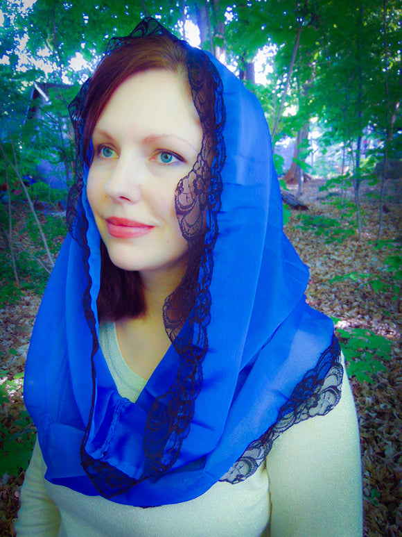 Blue Mantilla, Infinity Church Scarf, Lace Veil for Mass by BenedictaVeils - BenedictaVeils