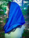 Blue Mantilla, Infinity Church Scarf, Lace Veil for Mass by BenedictaBoutique - benedictaveils