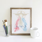 Jesus I trust in You, Divine Mercy Printable Image, Catholic Illustration Art, Devotional Wall Art Print