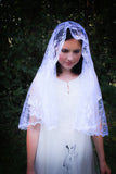 White Mantilla veil, Chapel Veil Catholic, Mantilla Wedding Veil by BenedictaBoutique - benedictaveils