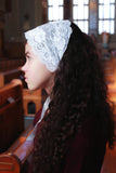 White Headband Catholic Chapel Veil with Ties, Lace Kerchief Headwrap by BenedictaBoutique