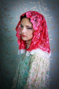 Catholic Mantilla Veil for Church in Metallic Pink by BenedictaBoutique - benedictaveils