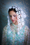 Starter Traditional Mantilla Veil in White Knitted Lace by BenedictaBoutique - benedictaveils