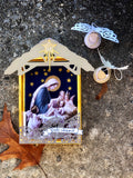 Creche Nativity Ornament, Oh Come Let Us Adore Him Manger Scene Decoration, Ready to Ship Traditional Christmas Set by BenedictaBoutique