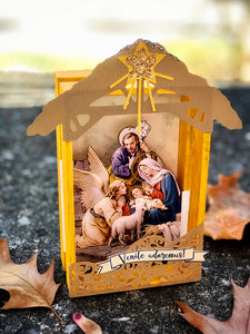 Oh Come Let Us Adore Him Creche Nativity Ornament, Manger Scene Decoration, Ready to Ship Traditional Christmas Set by BenedictaBoutique