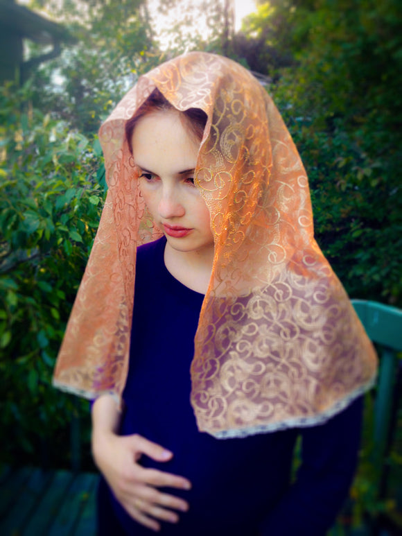 Gold Lace Chapel Veil, Golden Church Veil, Catholic Mantilla by BenedictaVeils - BenedictaVeils
