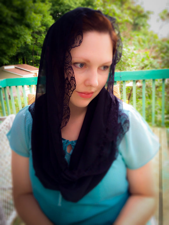 Black Mantilla Infinity Chapel Veil, Church Infinity Scarf by BenedictaBoutique - benedictaveils