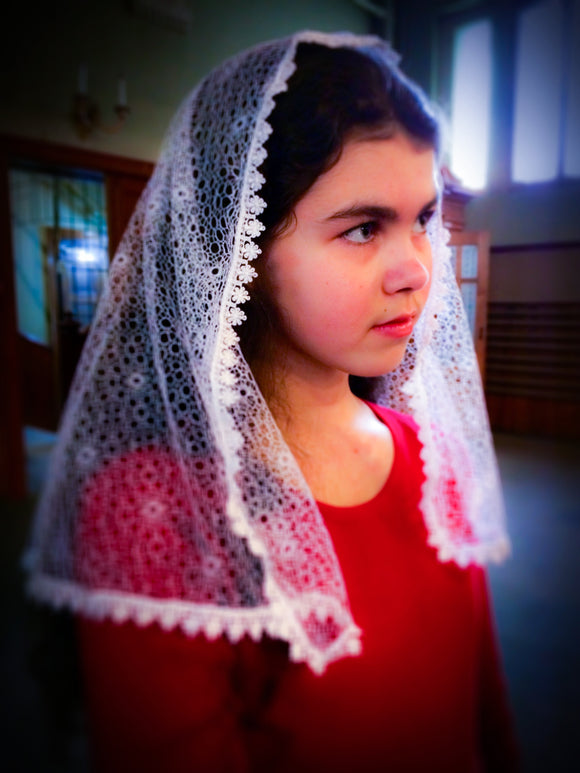 Holy Communion Veil, White Church Veil, White Mantilla, First Communion Veil by BenedictaBoutique - benedictaveils