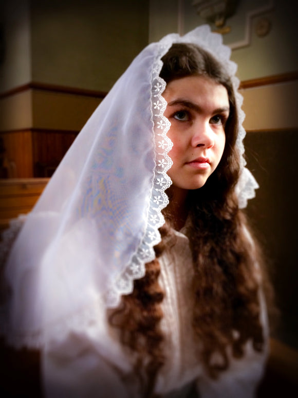 Veil Holy Communion, Mantilla Princess Veil, Mantilla for Girl by BenedictaBoutique - benedictaveils