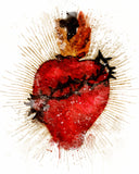 Most Sacred Heart of Jesus Illustration Printable, Devotional Catholic Wall Art - benedictaveils