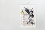 Saint Michael the Archangel Devotional Catholic Prayer Giclee Art Print