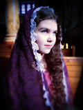 Dark Purple Church Chapel Shawl for Lent or Advent,  Catholic Mantilla Scarf