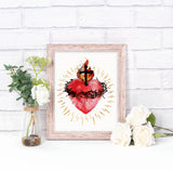 Most Sacred Heart of Jesus Printable Download Catholic Illustration Art - benedictaveils