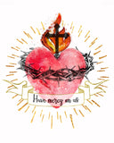 Sacred Heart of Jesus Printable Download Catholic Illustration Art - benedictaveils