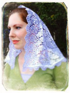 White Catholic Mantilla, White Lace Chapel Veil, White Catholic Veil, Church Veil, Sunday Mass Veil, Latin Mass Veil, Catholic Gift Wife by BenedictaVeils - BenedictaVeils