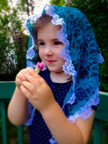 Blue Mantilla, Small Chapel Veil, Church Veil, Lace Veil for Mass by BenedictaBoutique - benedictaveils