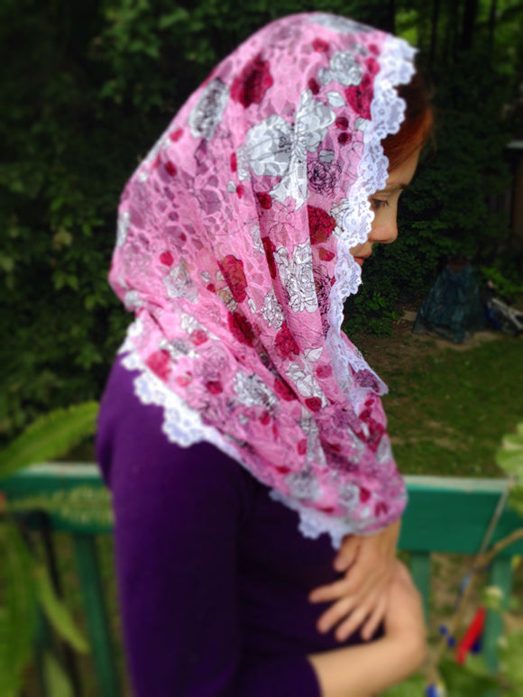 Mantilla Veil Pink, Catholic Chapel Veil Lace, Infinity Mantilla, Church Veil for Mass, Latin Mass Veil, Lace Veil Pink, Catholic Gifts Mom by BenedictaVeils - BenedictaVeils