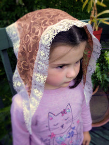 Small Mantilla for Girls, Catholic Kerchief for Church by BenedictaBoutique - benedictaveils