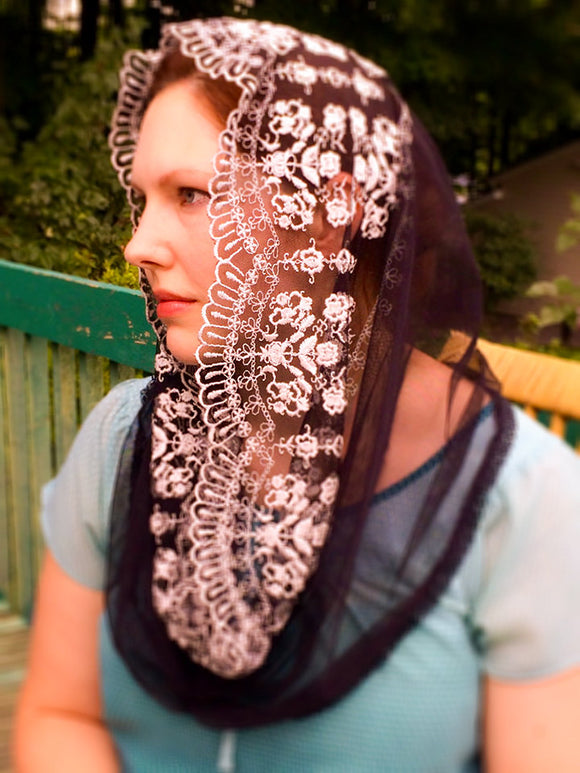Black Mantilla Veil, Catholic Black Mantilla, Catholic Gifts for Wife by BenedictaBoutique - benedictaveils