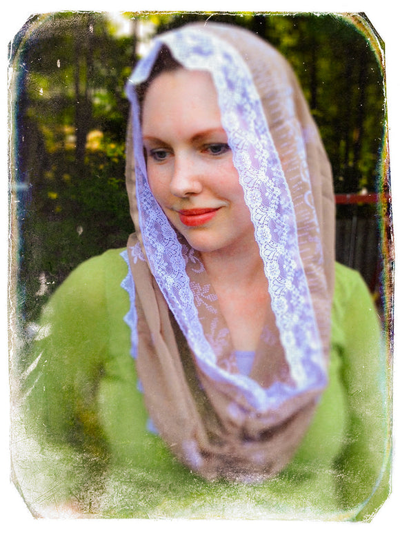 Chapel Veil Brown, Catholic Infinity Mantilla, Catholic Gifts for Her by BenedictaVeils - BenedictaVeils